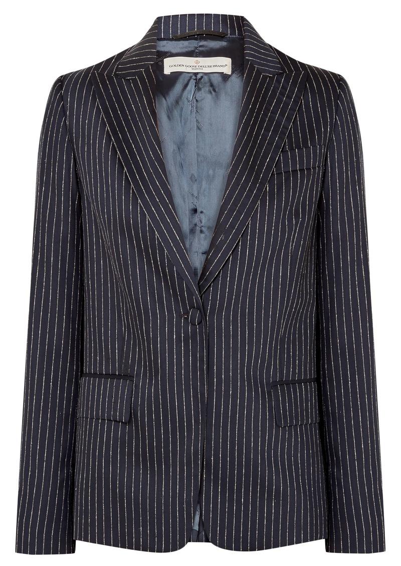 Golden Goose Deluxe Brand Woman Venice Pinstriped Wool And Silk-blend Blazer Navy