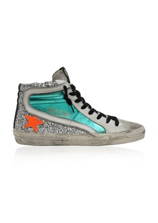 Golden Goose Glittered Leather High-Top Sneakers