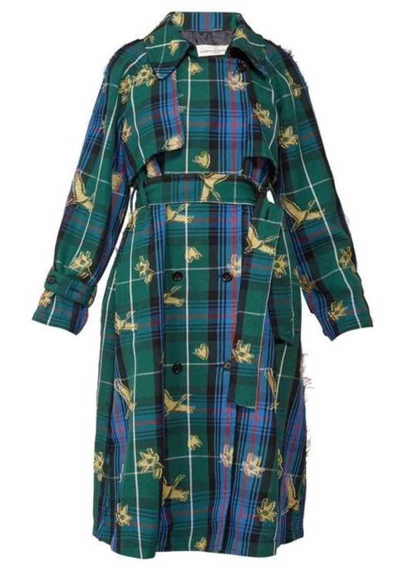 Golden Goose Masami bird-jacquard checked trench coat