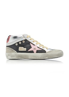 Golden Goose Mid-Star Glitter-Embellished Leather Wave Sneakers