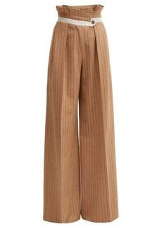 Golden Goose Pinstripe paperbag-waist wool-blend trousers