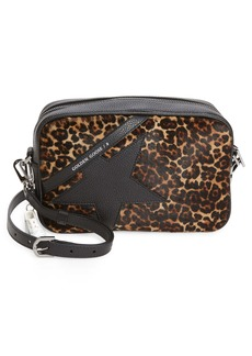 Golden Goose Star Leopard Print Genuine Calf Hair & Leather Camera Bag
