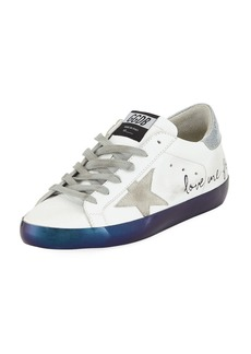 Golden Goose Superstar Love Me For Leather Low-Top Platform Sneaker with Suede Star