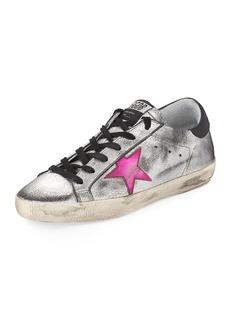 Golden Goose Superstar Metallic Low-Top Sneakers  Silver