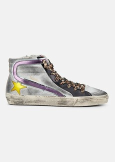 "Golden Goose Women's ""Slide"" Metallic Leather Sneakers"