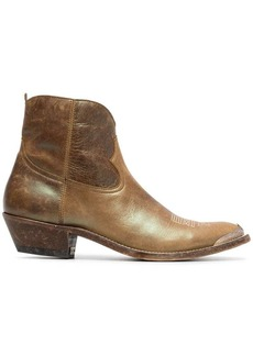 Golden Goose green Young 50 leather cowboy boots
