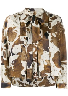 Golden Goose horse print pleated blouse
