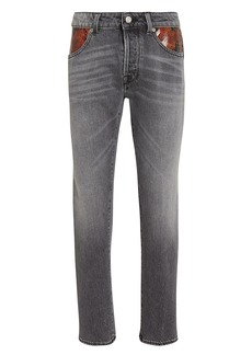 Golden Goose Jolly Cropped Python-Trimmed Jeans