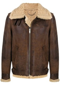 Golden Goose layered zip-up leather jacket