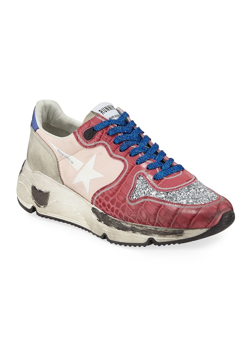 Golden Goose Limited Edition Runner Glittered Croc-Print Trainer Sneakers