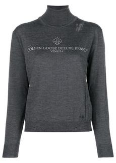 Golden Goose logo print rollneck jumper