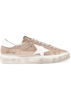 Golden Goose May Distressed Metallic Suede And Leather Sneakers