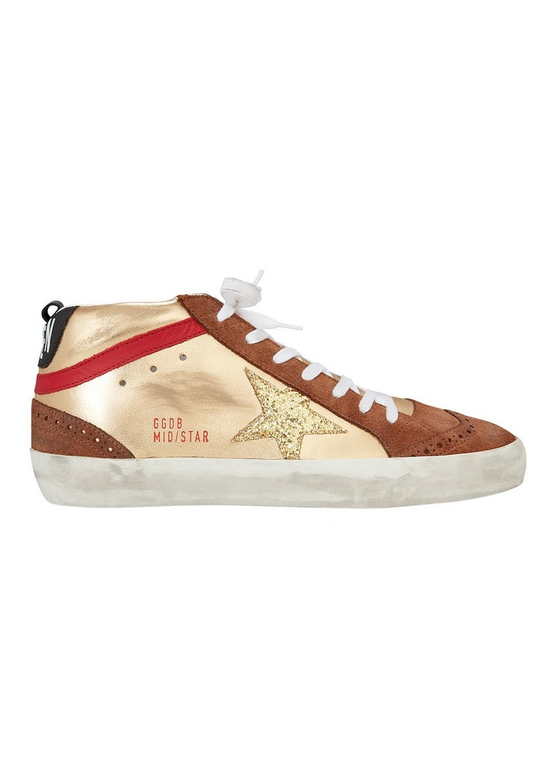 471c270059b8 Golden Goose Mid Star Gold Glitter Star Sneakers | Shoes