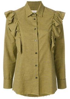 Golden Goose mini check frill blouse