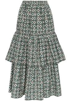Golden Goose Miranda floral check tiered midi skirt