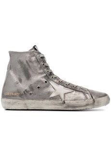 Golden Goose Pewter Francy Leather Hi Top Sneakers