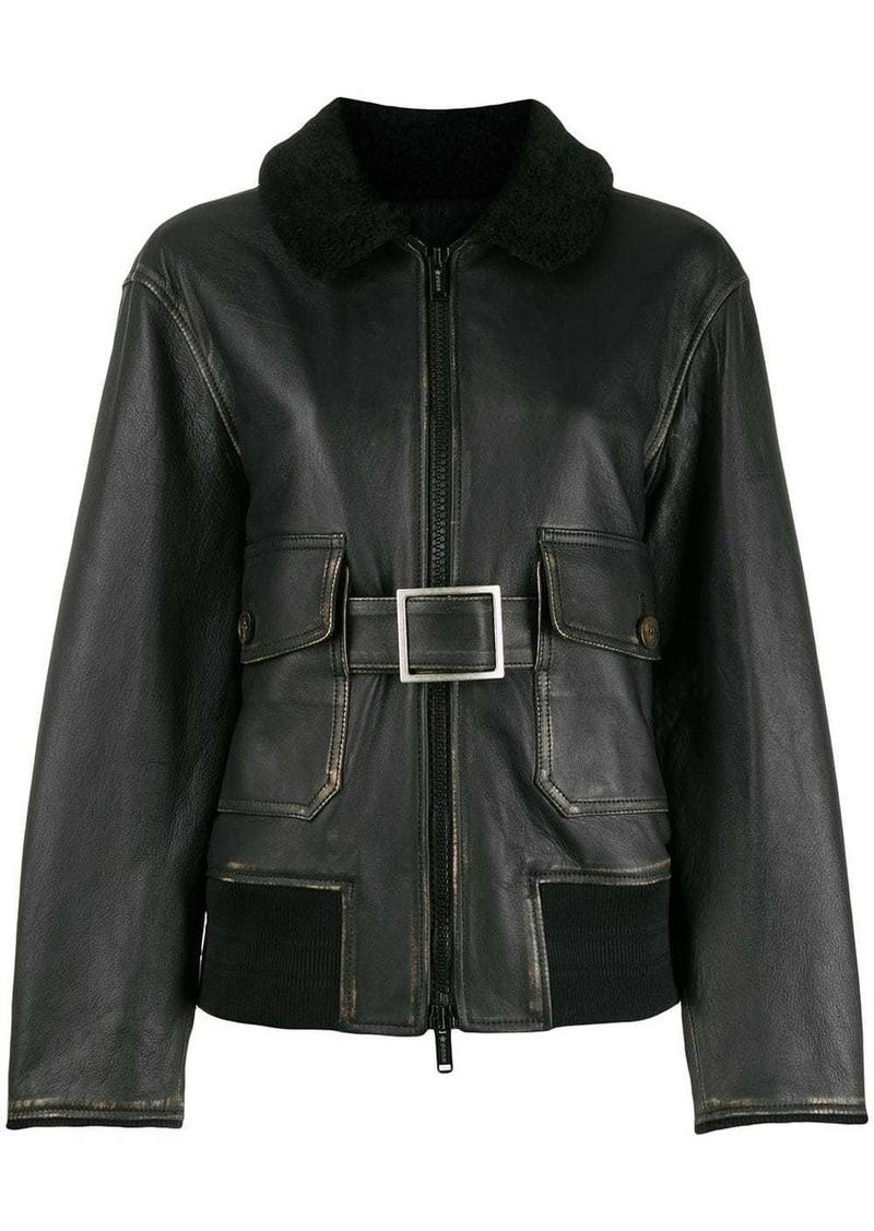 Golden Goose shearling collar belted jacket
