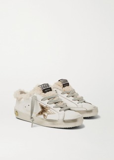 Golden Goose Sizes 28 - 35 Superstar Shearling-lined Distressed Leather Sneakers