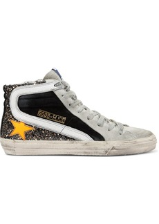 Golden Goose Slide Distressed Glittered Leather And Suede Sneakers