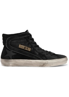 Golden Goose Slide Distressed Leather-trimmed Suede High-top Sneakers