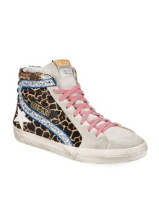 Golden Goose Slide Giraffe-Print Glittered High-Top Sneakers