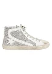 Golden Goose Slide Silver Glitter Hi Top Sneakers