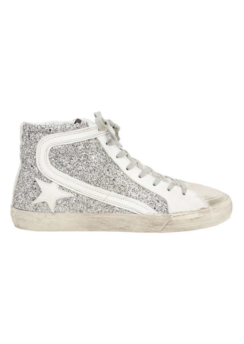 401cb6155318 Golden Goose Slide Silver Glitter Hi Top Sneakers