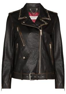 Golden Goose stud-embellished leather biker jacket