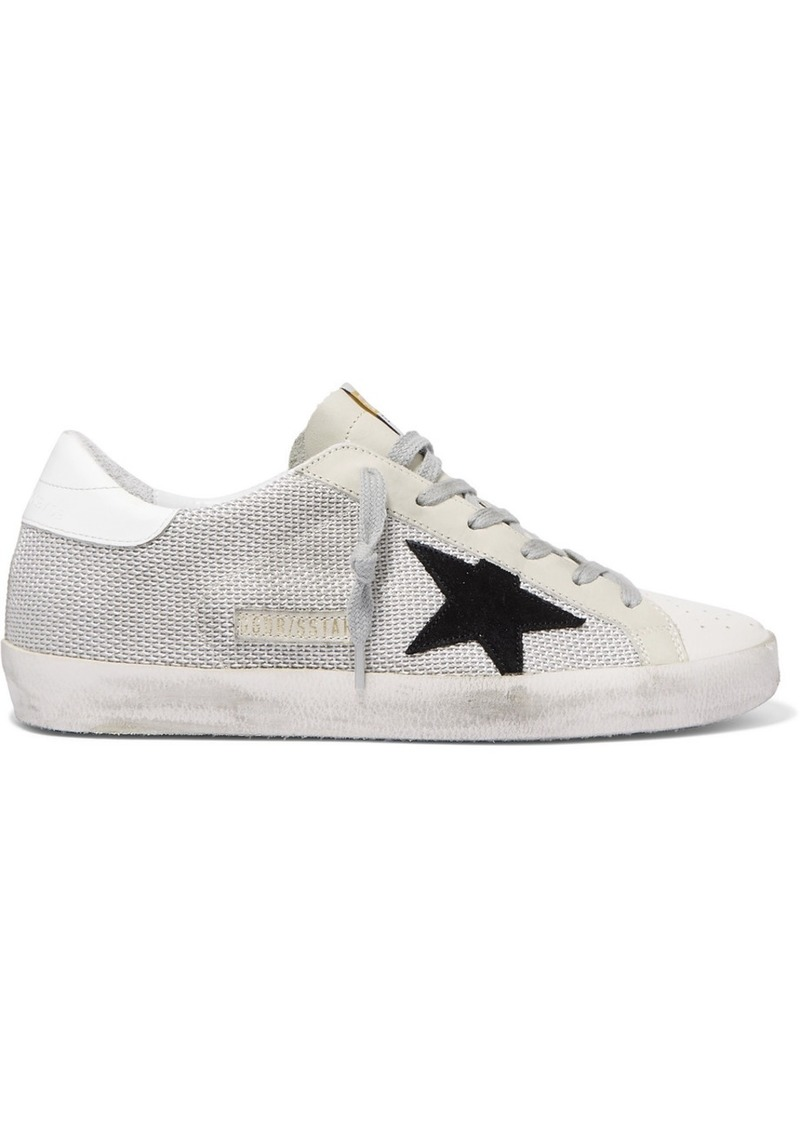 Super Star Mesh And Distressed Leather Sneakers