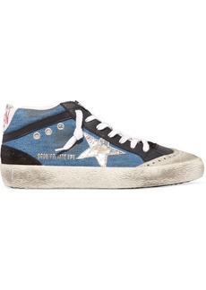 Golden Goose Superstar Distressed Denim, Leather And Suede Sneakers