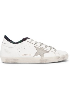 Golden Goose Superstar Distressed Flannel-lined Leather Sneakers
