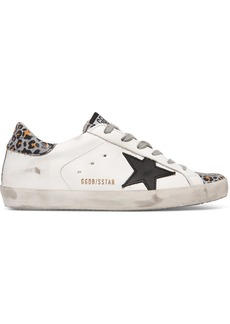 Golden Goose Superstar Distressed Glittered Leopard-print Leather Sneakers