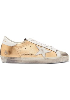Golden Goose Superstar Distressed Metallic Textured-leather And Suede Sneakers