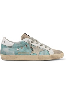 Golden Goose Superstar Distressed Tie-dyed Distressed Canvas, Leather And Suede Sneakers