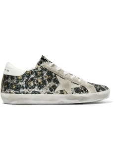 Golden Goose Superstar Glittered Leather And Distressed Suede Sneakers