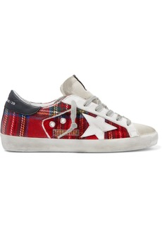 Golden Goose Superstar Tartan Flannel And Distressed Leather Sneakers