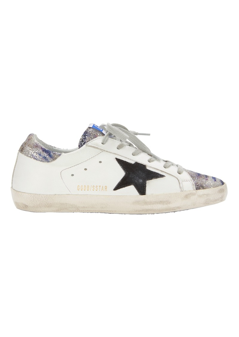 Golden Goose Superstar Zebra Glitter White Leather Sneakers