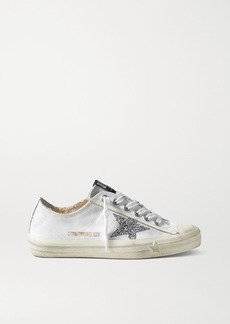 Golden Goose V-star Glittered Distressed Canvas Sneakers