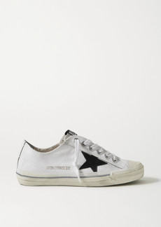 Golden Goose V-star Leather-trimmed Distressed Canvas Sneakers