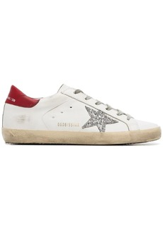 Golden Goose white Superstar glitter leather sneakers