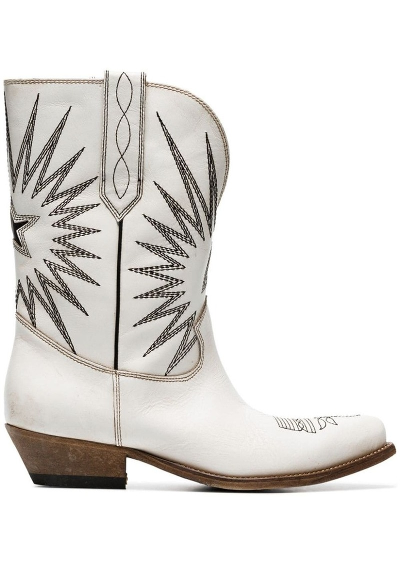 Golden Goose white Wish Star leather cowboy boots