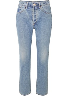 Goldsign Woman The Benefit Cropped High-rise Straight-leg Jeans Light Denim