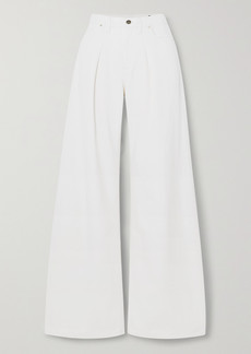 Goldsign Net Sustain Pleated High-rise Wide-leg Jeans