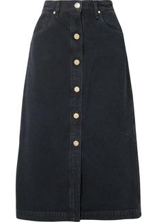 Goldsign The Button Front Denim Midi Skirt