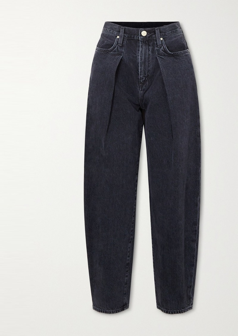 Goldsign Net Sustain The Pleat Curve Cropped High-rise Tapered Jeans