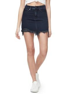 Good American Frayed Hem Denim Miniskirt (Regular & Plus Size)