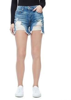 Good American Bombshell High Waist Cutoff Denim Shorts (Blue 153) (Regular & Plus Size)