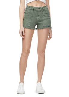Good American Cutoff Denim Shorts in Olive007