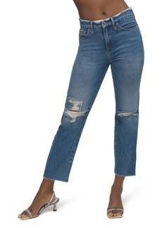 Good American Distressed High Waist Frayed Jeans (Blue 537)