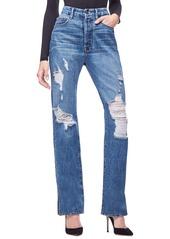 Good American Good Boy Ripped Boyfriend Jeans (Blue 194) (Regular & Plus Size)